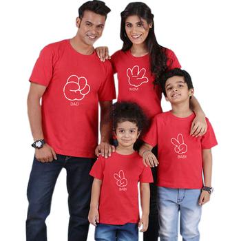 Bawełniane dopasowane rodzinne koszule rodzina pasujące ubrania pasujące ojciec matka córka chłopcy ubrania T-shirt z nadrukiem tanie i dobre opinie Gourd doll Koszulki Na co dzień Krótki Pasuje prawda na wymiar weź swój normalny rozmiar COTTON Drukuj Matka Ojciec Dzieciak