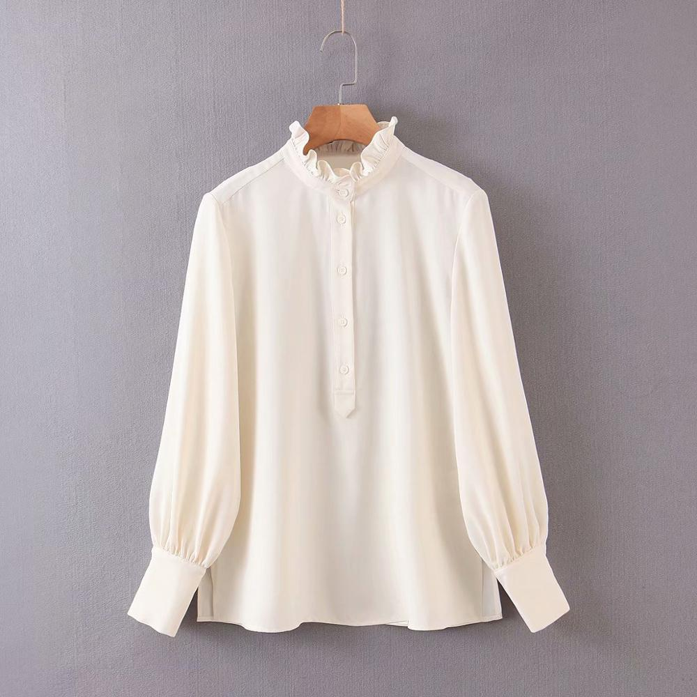 New Fashion Women Ruffled Design Solid Color Casual Chiffon Blouse Office Ladies Long Sleeve Shirts Chic Chemise Tops LS6272