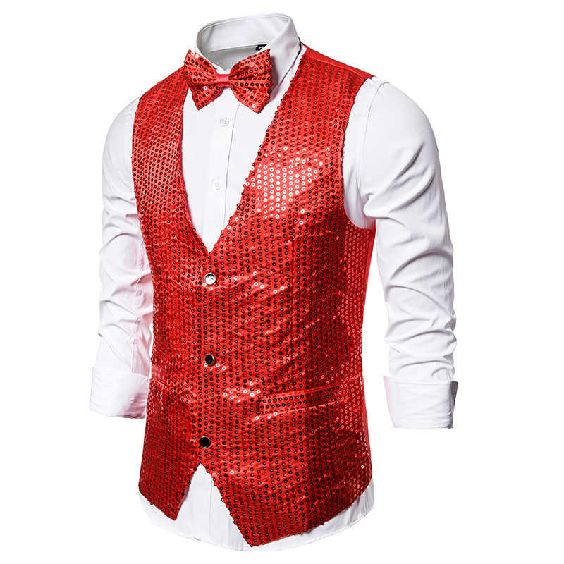 Mens Red Sequins Vest with Bowtie Slim Fit V Neck DJ Nightclub Prom Waistcoat Men Party Wedding Groom Vest Men Chaleco Hombre