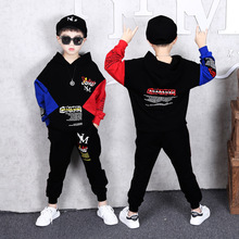 2019 Autumn New Fashion Boys Suit Children Hip-hop Clothing Kids Cotton Long Sleeve Spell Color Letters Hooded Sweater+Pants