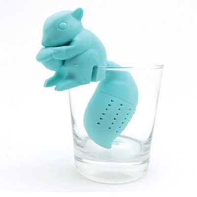 Creative Blue Squirrel Food Grade Silicone Rubber Como Llama Tea Infuser Alpaca Animal Tea Filter Tea Strainer