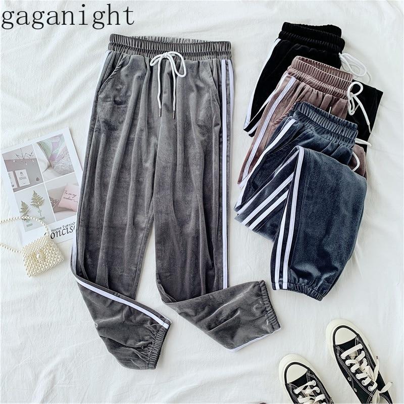 Gaganight Spring Autumn Women   Wide     Leg     Pant   Velvet Side Stripe Ankle Length Elastic Midi Waist Straight Trousers Sport Casual