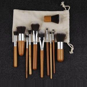 Image 2 - 11pcs Makeup Brushes Set Natural Bamboo Powder Foundation Brush Contour Conclear Face Make Up Brosse Cosmetic Pincel Maquiagem