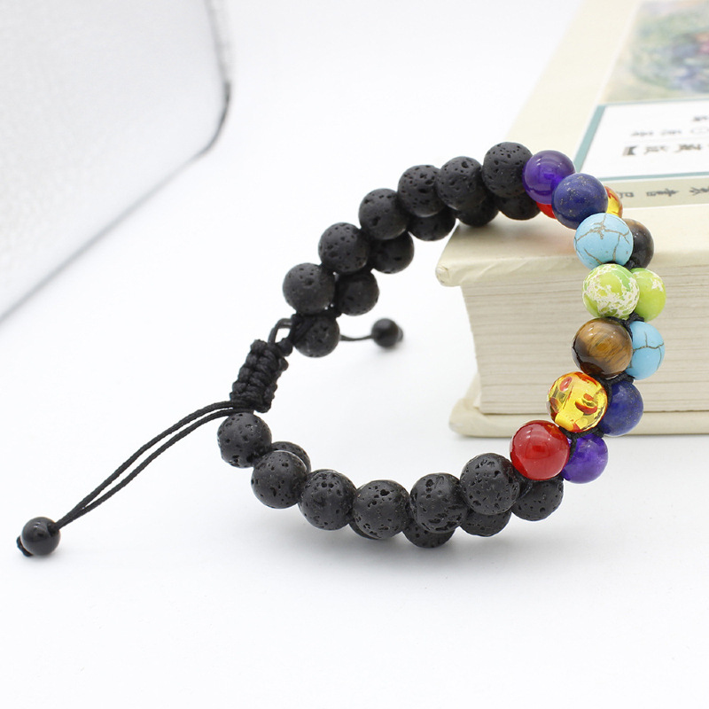 Wholesale 7 Chakra Healing Beaded Bracelet Natural Lava Stone Beads Double Row Bracelet 8MM For Women Men Yoga Jewelry 10pcs Lot