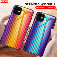 For iPhone 11 2019 Case 11Pro Carbon Fiber Tempered Glass Case For iPhone 11 Pro Max 11Pro 6 6s 7 8 Plus X XR XS Max Cover Coque colorful gradient case for iphone 11 pro max x xs max xr 8 hd glass capa fundas for iphone 11 11pro 8 7 6 6s plus back cover