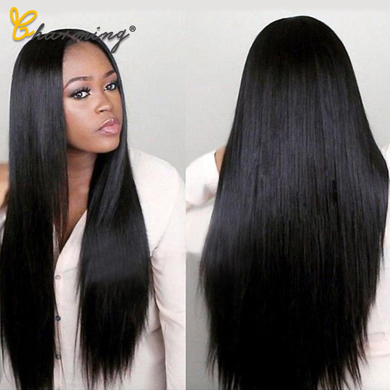 CHARMING Long Ombre Brown Blonde Wigs Part One's Hair In The Middle For Black Women Afro Straight Natural Party False Hair Wigs