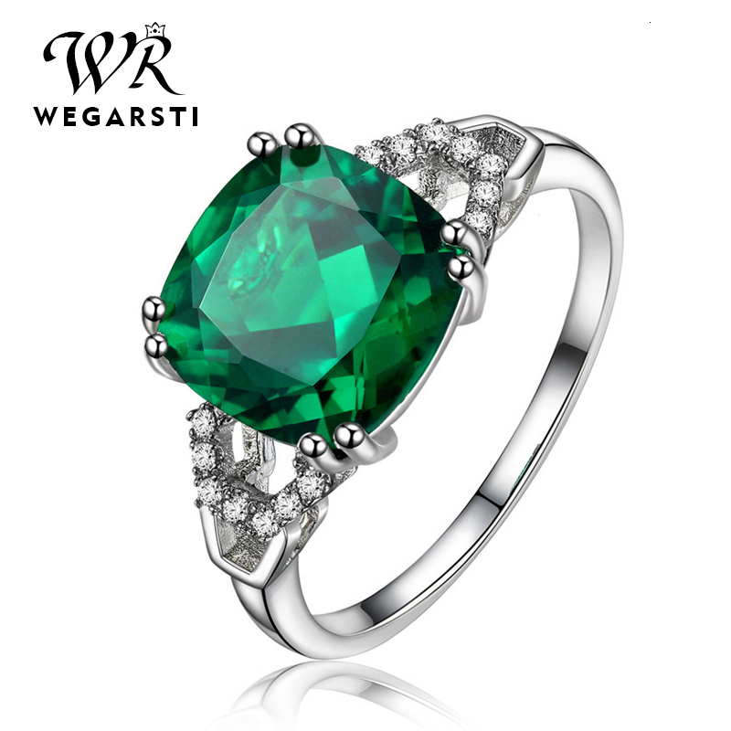 WEGARASTI Silver 925 Jewelry Emerald Ring Silver 925 Women's Trendy Natural Gemstone Rings Party Engagement Ring Fine Jewelry