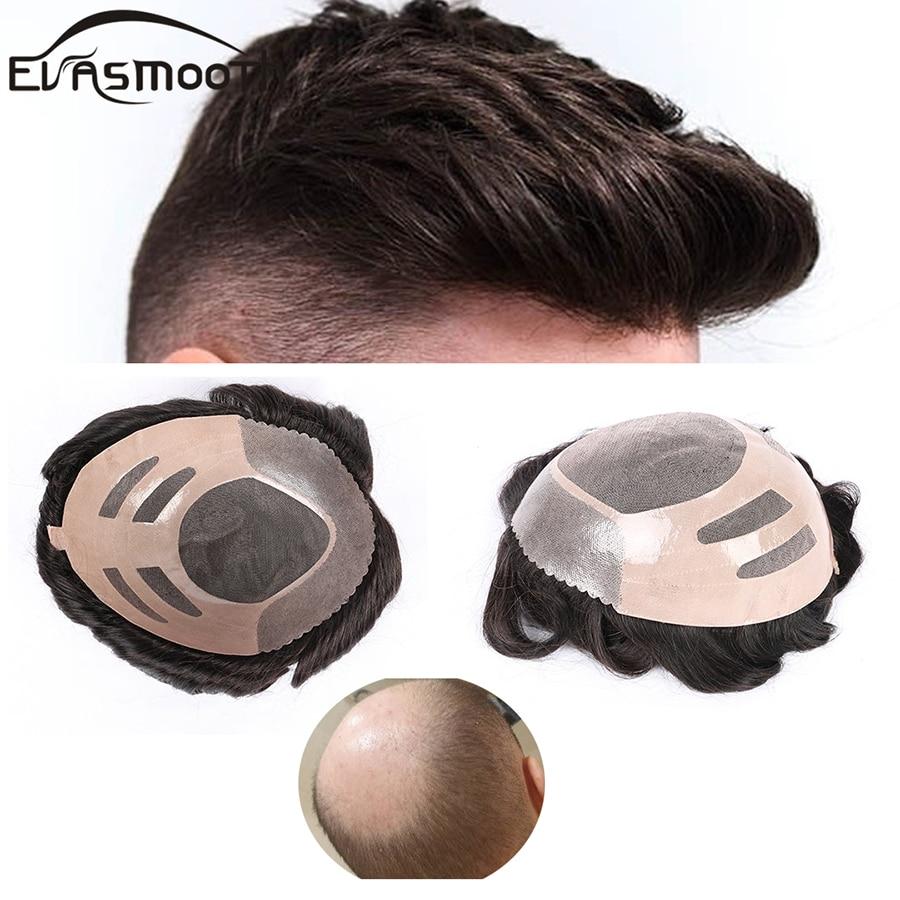 Thin Skin Toupee Capillary Prosthesis Man Toupee Human Hair Topee System Wigs Pu Lace Men Wig Raw Indian Hair Men Natural Hair