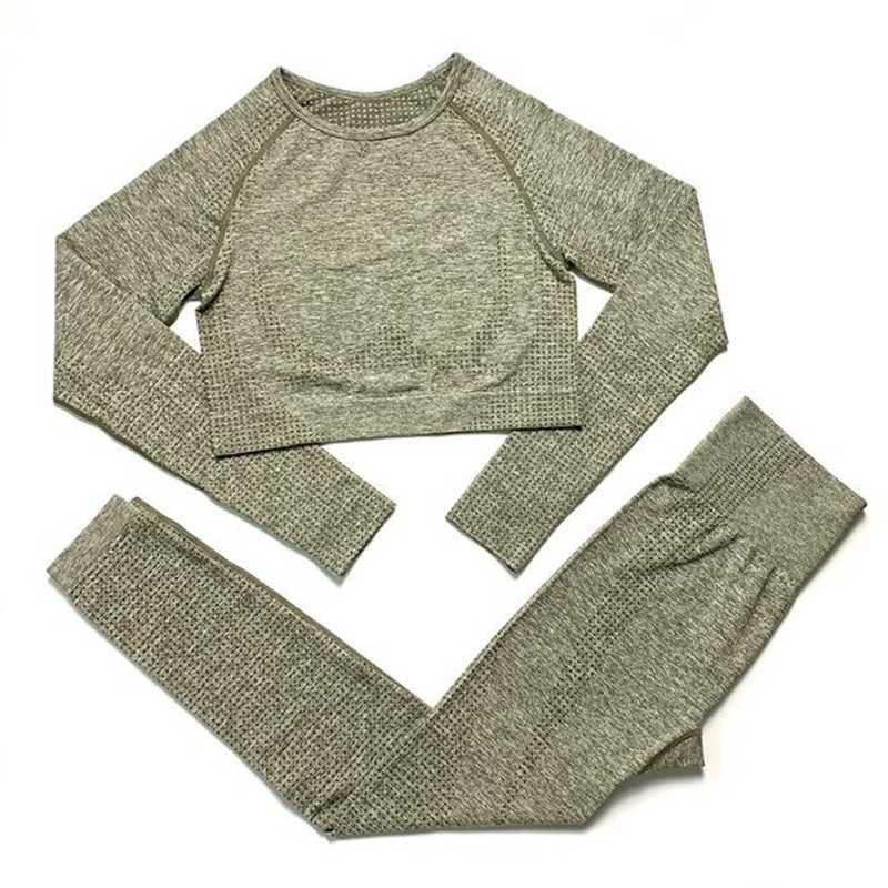 Mulheres sem costura yoga conjunto de fitness esportes ternos ginásio pano yoga manga longa camisas cintura alta correndo leggings roupa treino