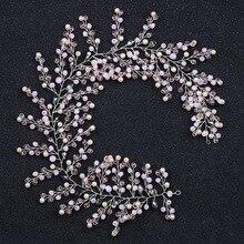 Fashion Rhinestone Crystal Headband For Women Pink Beads Bride Hair Bands Pearl Wedding Headwear Hair Jewelry Accessories цена и фото