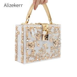 Image 1 - אקריליק תיבת ערב שקיות נשים יוקרה פרחים מנעול יהלומים אבן דפוס קטן כיכר מצמד כתף תיק ערב נשי