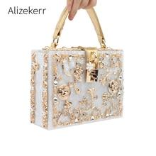 Sacs à main en boîte acrylique pour femmes, sacs de soirée à fleurs de luxe avec serrure diamant motif pierre, petit sac à bandoulière carré pochette pour dîner