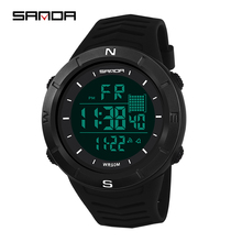 SANDA Men Sports Watches LED Digital Watches Military Waterproof Electronic Wristwatches Digital Clock Relogio Masculino cheap Resin 22cm 5Bar Buckle ROUND 33 21mm 15 11mm Acrylic Stop Watch Back Light Shock Resistant LED display Repeater Rattrapante