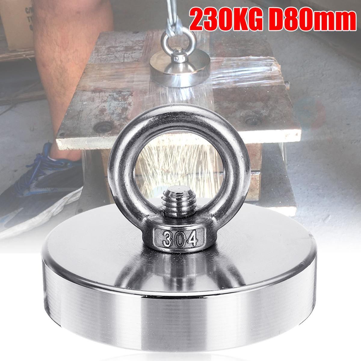 SWILET 230KG D80mm Neodymium Magnet Recovery Imanes Metal Detector Salvage Magnet Pot Treasure Hunting Underwater Fishing Aimant