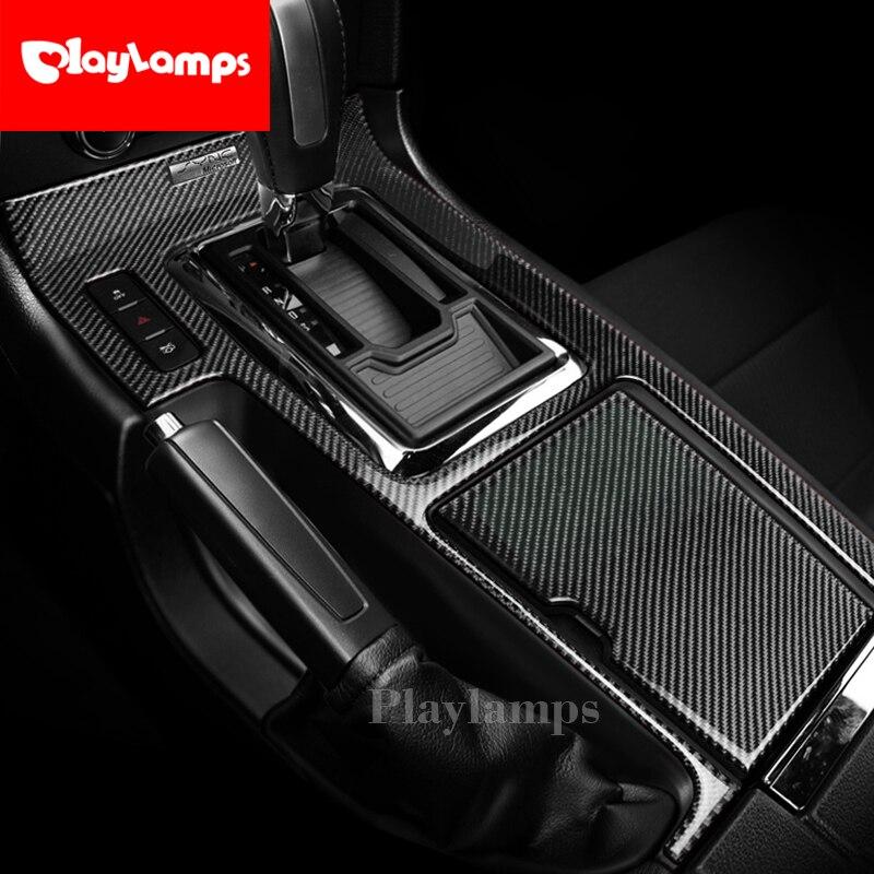 Fibre de carbone autocollant Console centrale boîte de changement de vitesse panneau décoration couverture garniture intérieur de voiture pour Ford Mustang 2009-2013