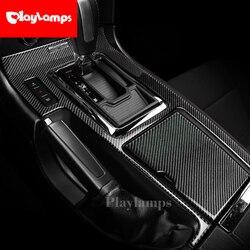 Naklejki z włókna węglowego okno konsoli środkowej zmiany biegów dekoracja paneli pokrywa wykończenia wnętrza samochodu dla Ford Mustang 2009-2013