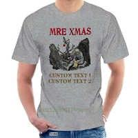 Mre Xmas Cotton Print Top O-Neck Short Sleeve Custom White Stringer for Men t shirt @093274