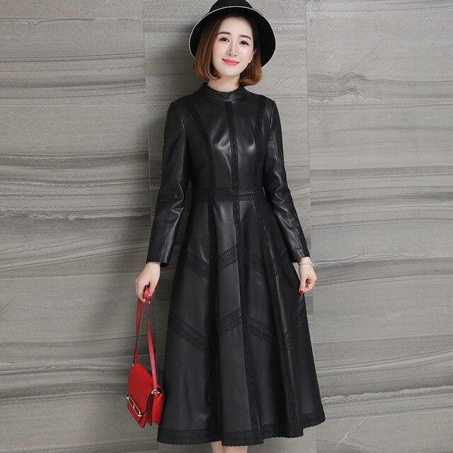 Jesień 2020 nowa skórzana damska długa koronka sukienka wiosna klasyczna skórzana Sleepskin ciepła moda A Line sukienka z okrągłym dekoltem