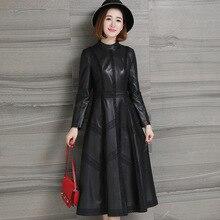 Outono 2020 novo couro feminino longo vestido de renda primavera clássico couro genuíno sleepskin quente moda a line em torno do pescoço vestido