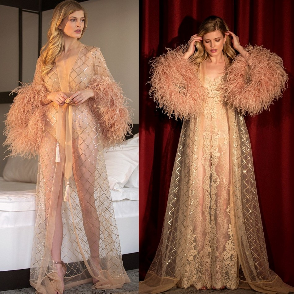 Gorgeous Illusion Night Robe Long Sleeve Feathers Party Sleepwear Custom Made Luxury Nightgowns Robes With Belt