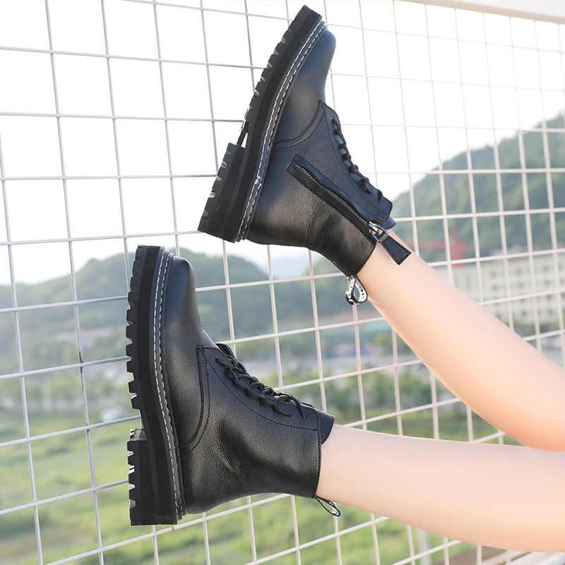 AIYUQI Martin botas femeninas 2019 nuevo otoño viento británico cuero genuino grueso con botas cortas botas de mujer botas de motocicleta
