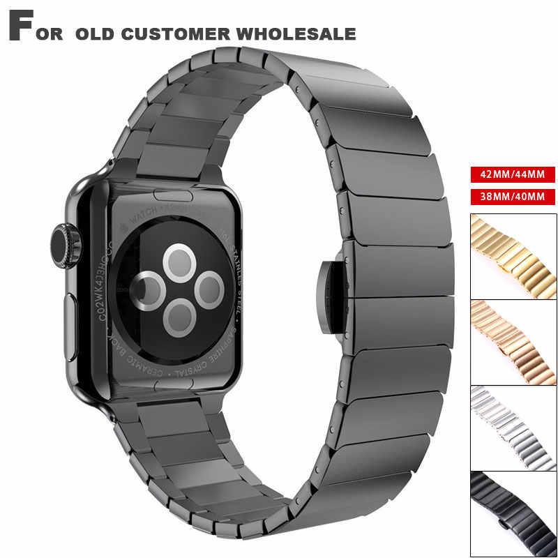 Bracelet en acier inoxydable pour Apple Watch 4 3 lien bracelet à iwatch 4 3 38 40 42 44mm papillon fermoir serrure lien boucle bande