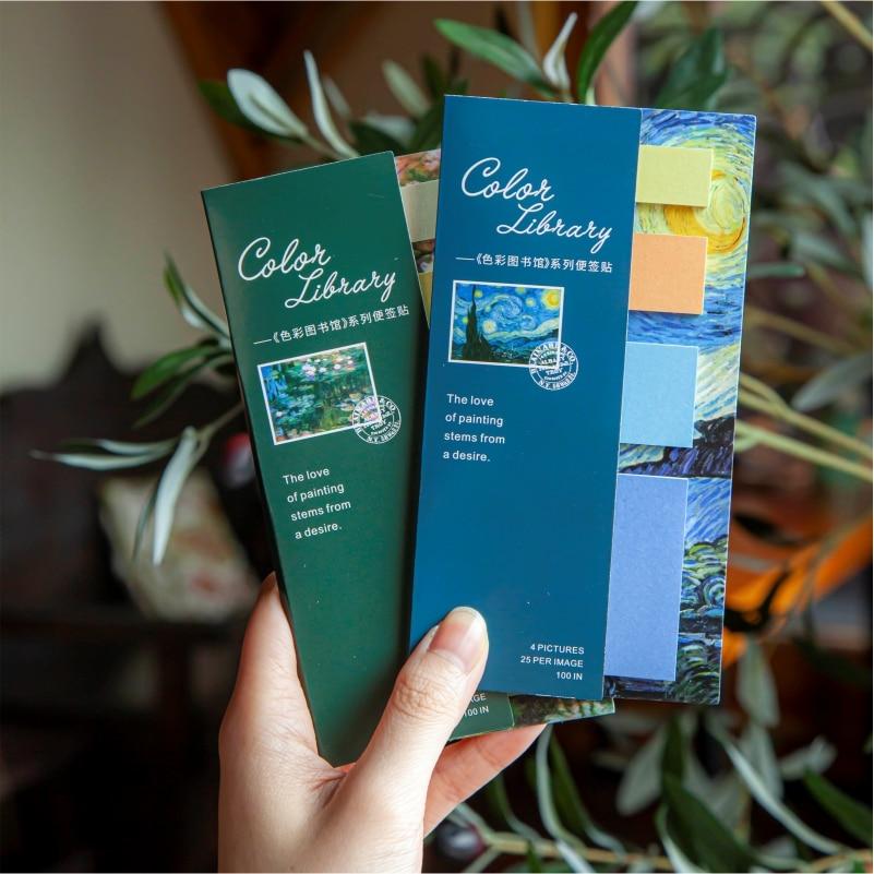 100 шт. Ван Гог самоклеящаяся бумага для заметок перезаписываемый брелок для офиса аксессуары твердые цветные Стикеры для заметок памятки на...