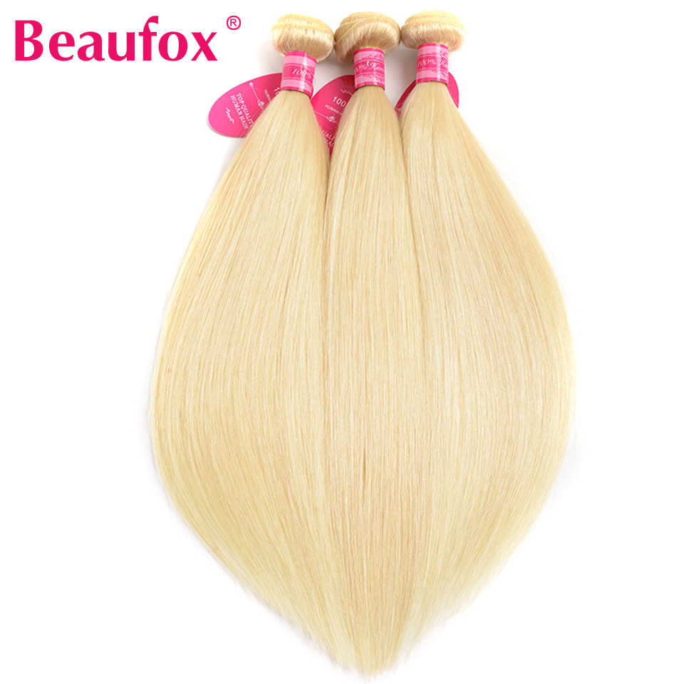 Beaufox 613 Blonde Human Hair Bundles Brazilian Hair Weave Bundles Straight Hair 3 Bundles Remy 613 Hair Extension 8-26 Inches