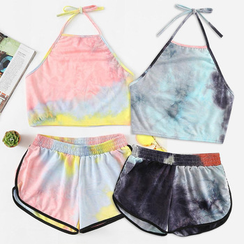 Tie-Dye Two-piece Set Women Sleeveless Lace up Gradient Halter Crop Top and Shorts 2 piece set Women Summer Casual Tank Suits adogirl women tie dye print camisole two pieces set fashion casual sleeveless crop top shorts tracksuit summer fitness outfits