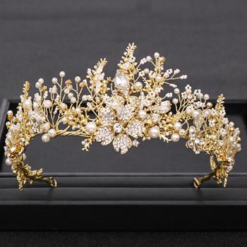 Modna ręcznie robiona królowa złota ślubna Tiara perła kryształowa kwiat korona ślubna biżuteria do włosów chluba ślubna akcesoria do włosów tanie i dobre opinie AiliBride Ze stopu cynku Kobiety HG066 PLANT TRENDY Tiary Hairwear Moda Gold