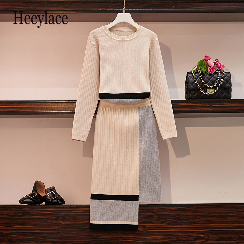 Plus Size High Quality 2019 Autumn Knitted Womans Suits Loose Long Sleeve Sweater And Irregular Skirts 2 Piece Set Woman