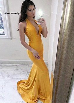 Sexy Mermaid Prom Dresses Long Deep V Neck Zipper Back Sweep Train Simple Backless Formal Evening Gowns