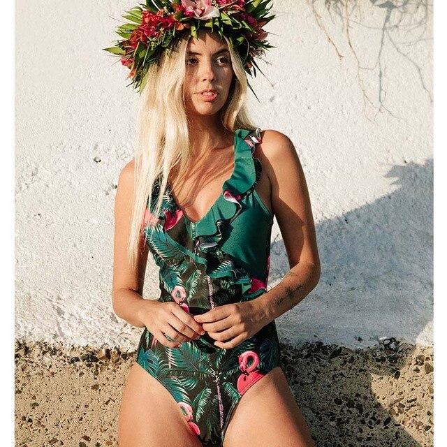 2020 Sexy głębokie V jednoczęściowy kostium kąpielowy damski kobiety w stylu Vintage Retro strój kąpielowy ramię wzburzyć stroje kąpielowe Backless Monokini