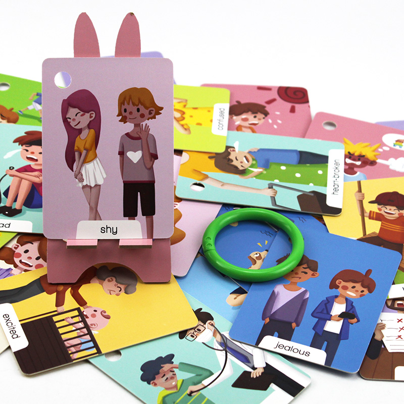 23Pcs Montessori Baby English Emotion Learning Cards Cartoon Flash Cards For Children Early Educational Toy Memory Game For Kids 4