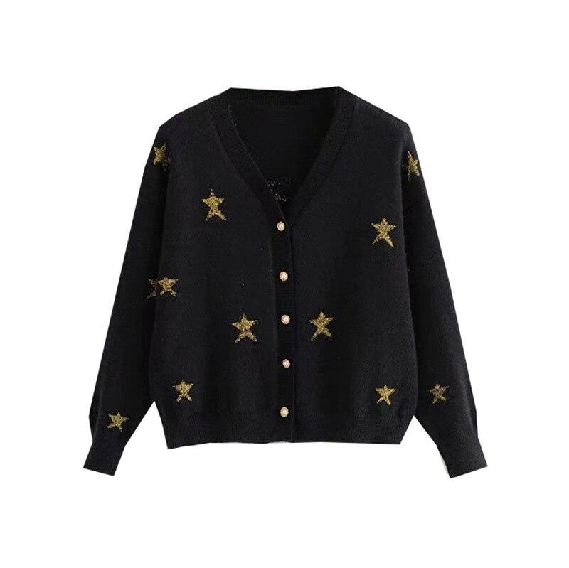 Automne nouveau Style étoile brodé à manches longues col en v tricoté Cardigan hauts femmes perle fermoir pull manteau
