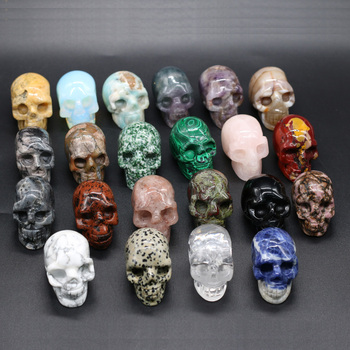 Natural Crystal Skull Gems Ghost Head Ornament Carved Crystal Skull Healing Stone Home Decor Or Halloween Party Bar Decoration skull figurine natural stone yellow tiger eye crystal carved statue realistic feng shui healing ornament art collectible 2
