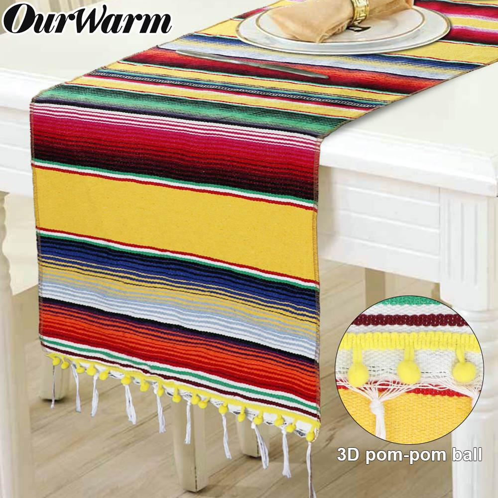 Mexican Table Runner Tassels Pom Mexican Party Striped Serape Blanket Table Decoration Mexican Fiesta Party Wedding  Party Favor