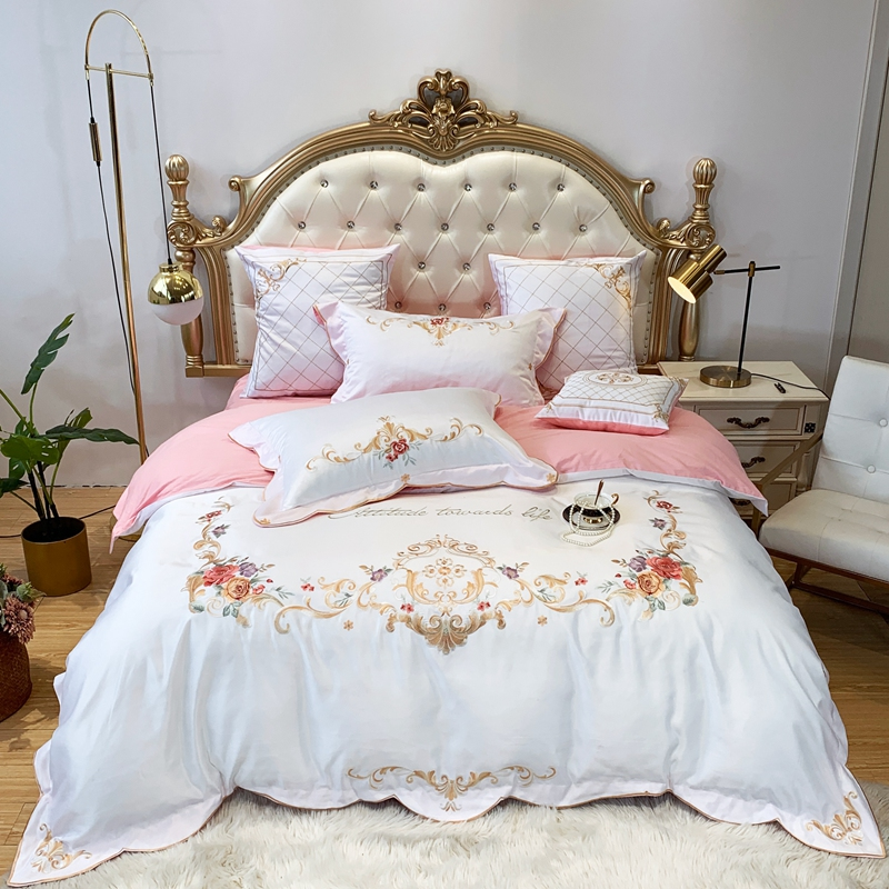 Luxury Embroidery Bedding Set Cotton Bed Linens Bed Sheet Set Bedclothes Queen/King Size Washed Silk Bed Cover 4pcs