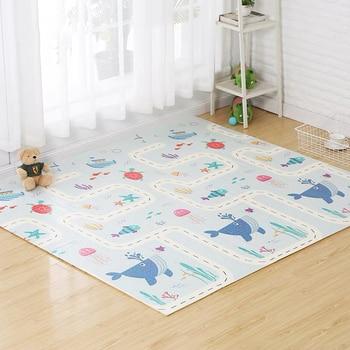 Alfombra Reversible para juegos de bebés de 200x180x1 cm, alfombra plegable para gatear de doble cara, impermeable, portátil, alfombra suave para niños pequeños