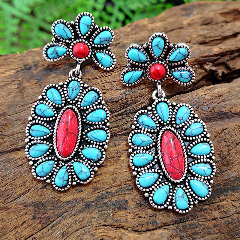 Fashion Vintage Blue White Turquoises Dangle Earrings for Women Ethnic Style Ancient Silver Water Drop Long Earring Boho Jewelry