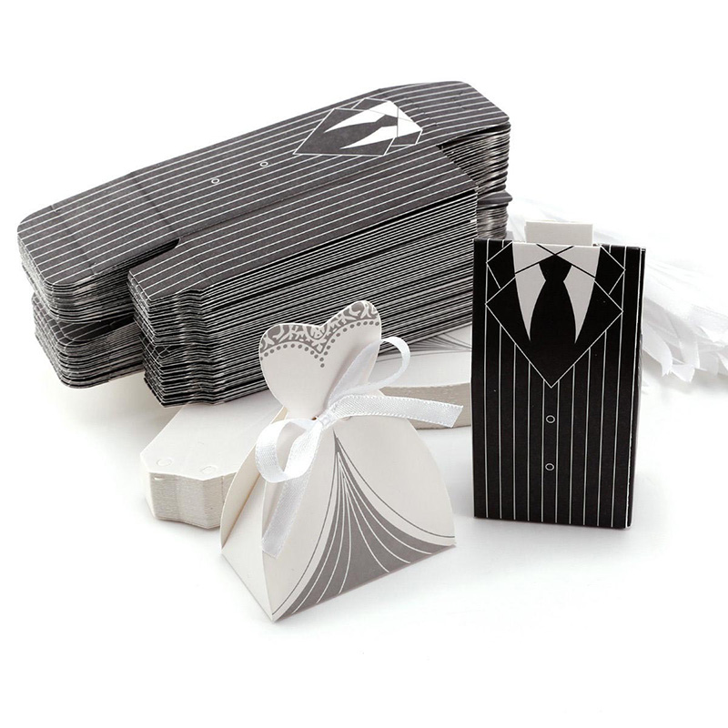 10pcs/lots Bride And Groom Dresses Wedding Candy Box Gifts Bags Favor Boxes Wedding Bonbonniere DIY Event Party Favor Decoration