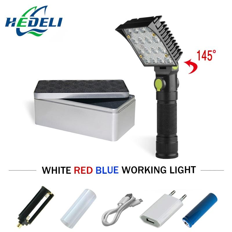 Red Light Blue Light White Light COB Flash Light 18650 Rechargeable Powerful Led Zaklamp Torch Flashlight Usb Lantern Magnet