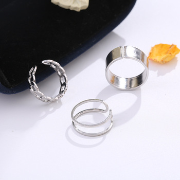 LATS Punk Metal Geometry Circular Punk Rings Set Opening Index Finger Accessories Buckle Joint Tail Ring for Women Jewelry Gifts 5