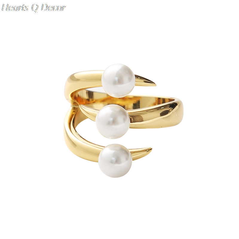925 sterling silver Triple Pearl Claw Statement Rings  Women Wedding Jewelry Punk Party Designer Club Cocktail Party Japan