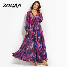 ZOGAA Long Sleeve Dress Purple Tropical Beach Vintage Maxi Dresses Boho Casual V Neck Belt Lace Up Tunic Draped Plus Size
