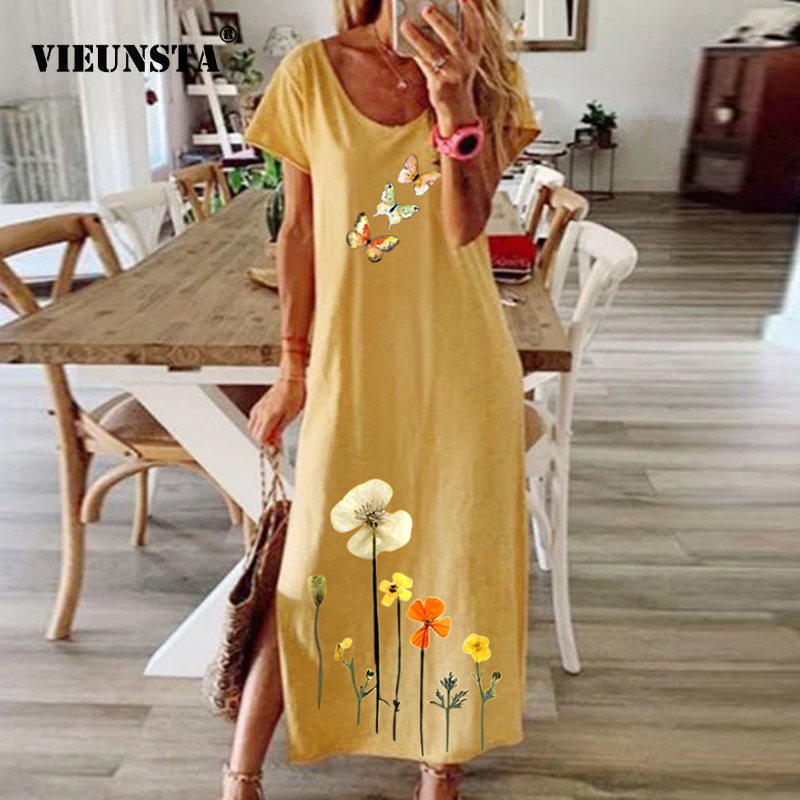 Women Vintage Butterfly Daisy Print Summer Dress Elegant O Neck Short Sleeve Party Dress Ladies Fashion Slit Long Dress Vestidos