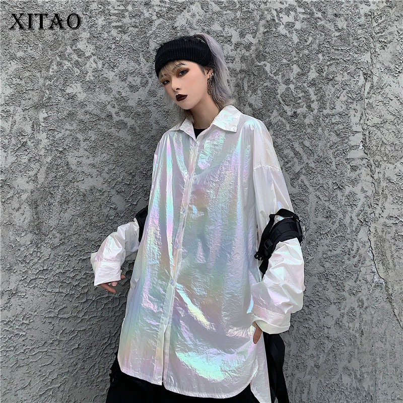 XITAO Korean Style Harajuku Women Blouses Trend Laser Gradient Shirt Loose Plus Size Women Clothes 2020 Spring Clothes XJ3622