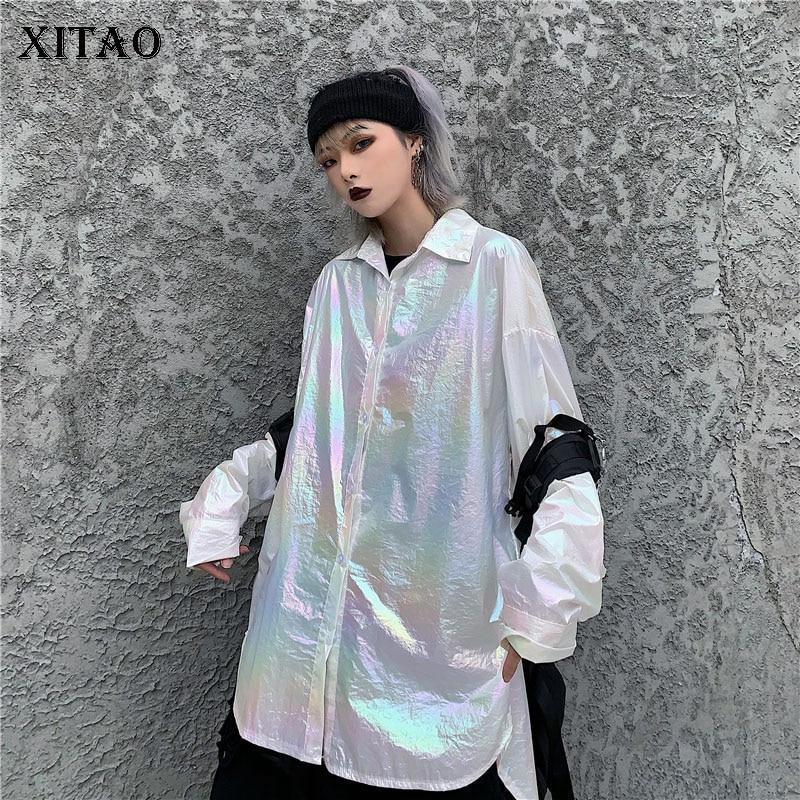 XITAO Korean Style Harajuku Women Blouses Trend Laser Gradient Shirt Loose Plus Size Women Clothes 2020 Spring Clothes XJ3622