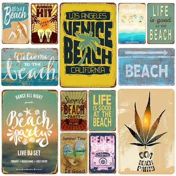 Life Is Good At Beach Plaque Metal Tin Sign Vintage Pin Up Shabby Poster Wall Decor for Bar Pub Club Metal Signs Pub Funny Tin