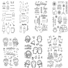 Christmas Elements Various Cute Animals Penguin Horse Rabbit Snowman Clear Stamp Or stamp for DIY ScrapbookingCard Making